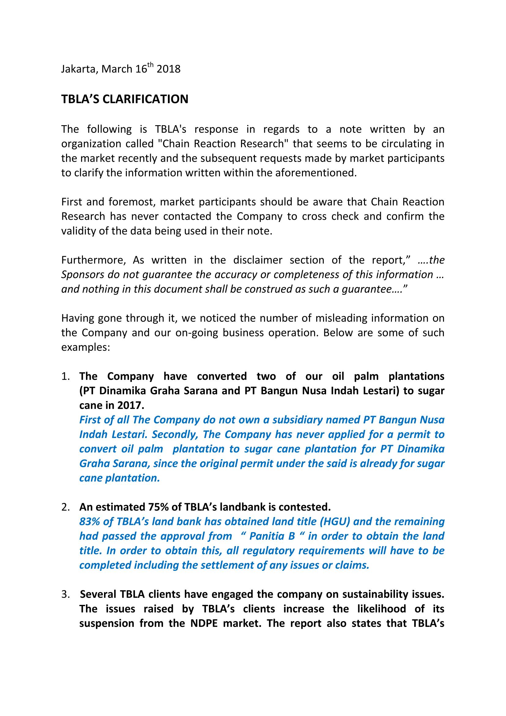 TBLA's Clarification-1
